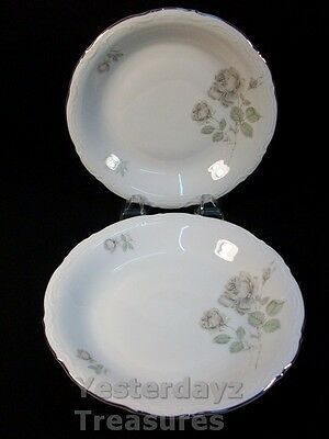 """A Pair of 8"""" Soup Bowls by Mitterteich Bavaria Pattern: Mystic Rose"""