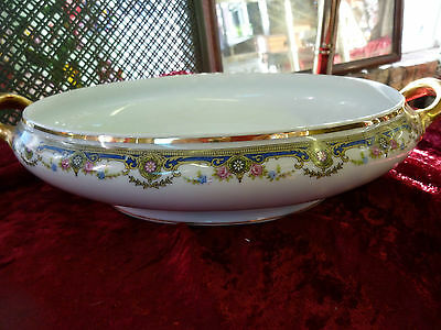 J B LIMOGES Oval Vegetable Serving Bowl Jean Boyer 22kt gold Floral