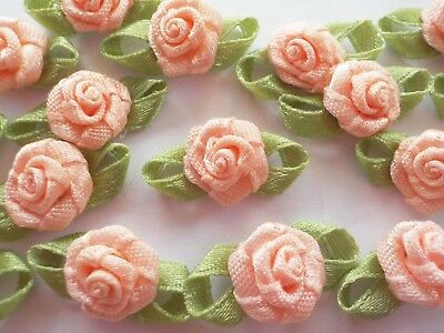 100! Satin Ribbon Roses With Leaves - Beautiful Pastel Peach Rose Embellishments