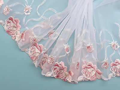 "*The Place For Lace* White Pink Roses French Embroidered Tulle Lace Trim 6""/15cm"