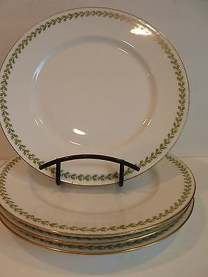 WM GUERIN CO LIMOGES FRANCE Set of 4 DINNER PLATES~Green Holly?  Leaves? 9 3/4""