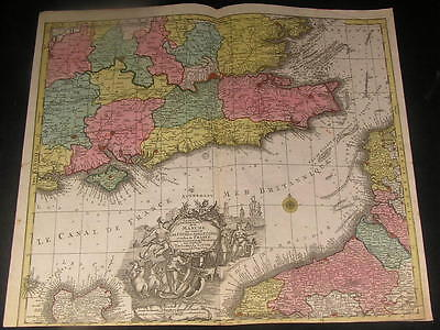English Channel Kent Berkshire Normandy c. 1740 Lotter antique decorative map