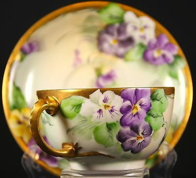 Limoges France  Hand Painted Cup and Saucer with Dragon Handle Gold Gilt Signed