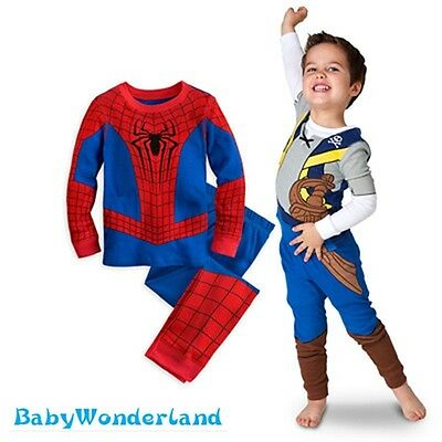 New Boys Spidermand Pirate Costume Long Sleeves Pyjamas Sleepwear Set Size 0-4Y
