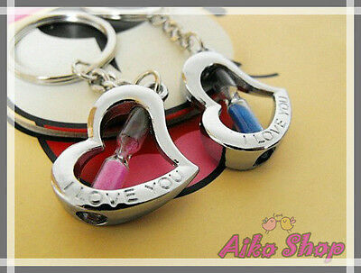 HOT! Lover set of two key rings, I love you, forever- hourglass 2 Heart shape