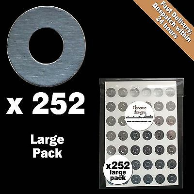 252 x  Silver foil hang tag ring/round/hole punch reinforcement stickers/labels