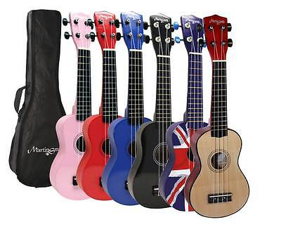 Martin Smith Ukulele Soprano With Bag Student Right Hand Pink Blue Red Wood Flag