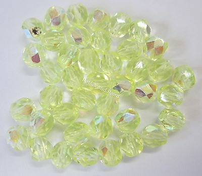 40 Fire Polished 6mm Faceted Glass Beads Gutermann Czech Bead Yellow AB Col 8580