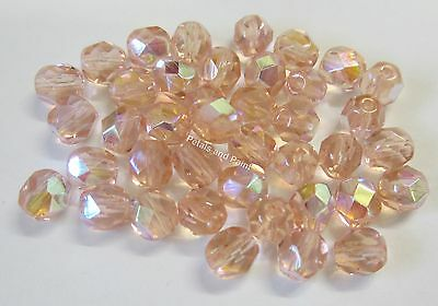 40 Fire Polished 6mm Faceted Glass Beads Gutermann Czech Bead Peach AB Col 5185
