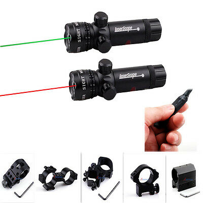 980ft/300m Tactical Rifle Green/Red Dot Scope Laser Sight+Pressure Switch/ Mount