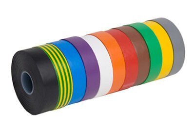 Red Blue Black White ELECTRICAL PVC INSULATION TAPE ROLL 18mm 20m 1 2 5 10 19