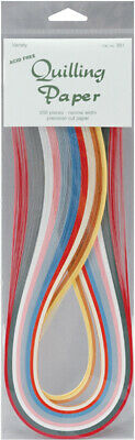 Quilling Paper Narrow Width 200 Per Pack - Variety (10 Colour Assortment )