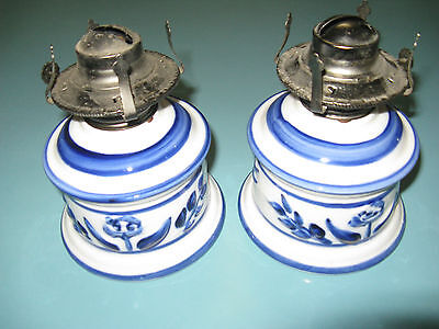 Oil Hurricane Lamp bases Pair Lamplight Farms USA Cobalt Blue White Ceramic