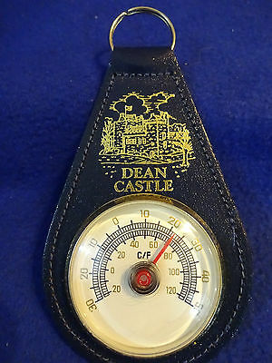 VINTAGE LEATHER DEAN CASTLE AND A THERMOMETER  KEY CHAIN
