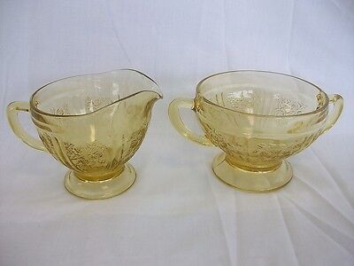 Federal Glass Sharon Cabbage Rose Amber Depression Creamer & Sugar Bowl