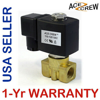 VITON 3/8 in 110V-120V AC Brass Solenoid Valve NPT Gas Water Air Normally Closed