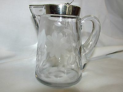Heisey Glass Syrup Etched Floral and Leaf Decoration Maple Syrup Pitcher