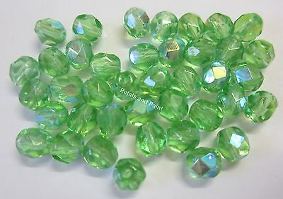 40 Fire Polished 6mm Faceted Glass Beads Gutermann Czech Bead Lime Green AB 8430