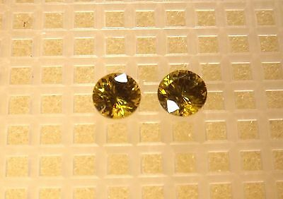 Rare Collector's Golden/green Sonorran Sphalerite (2) 5.5Mm Rnds Pair 1.81Cts