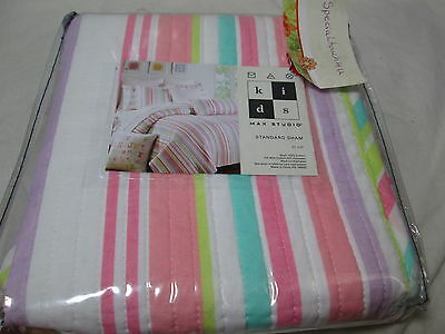 New Max Studio Kids Standard Sham 21x27 - Multi Colors Stripe/ Pink Dots NIP