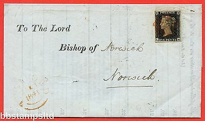 """SG. 2. A1 (2). AS41. """" LK """". 1d black. Plate 6. A good used example on cover."""