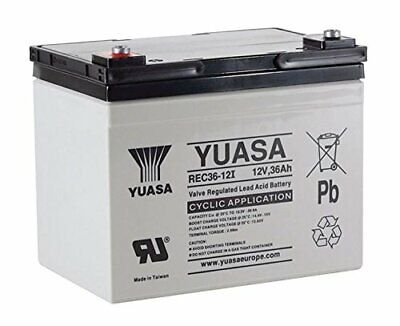Yuasa 36 Hole Golf Trolley Battery Fits Mocad-Hillbilly 12V 36Ah Rec36-12