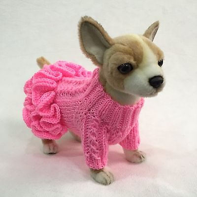 Handmade Knit Ruffled Sweater Dress and Hat for Little Dogs Size XXS, XS, S