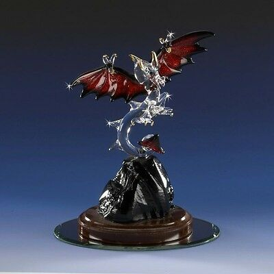 Collectible Red Flaming Wings Fire Dragon Crystal Figurine 22k GOLD ACCENTS SWAR
