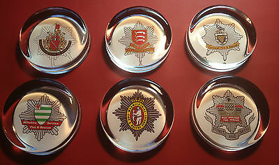 BRITISH FIRE SERVICE/BRIGADE 70mm GLASS PAPERWEIGHTS + 10% FIRE SERVICE CHARITY