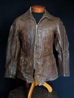 Very Rare Vintage 1930'S-1940'S  Brown Horsehide Leather Jacket Size Medium