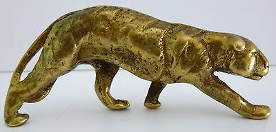 Brass Tiger Leopard Lion Cat Paperweight Model Ornament Sculpture Vintage Rare