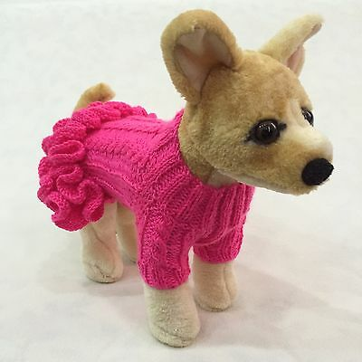 Handmade Knit Ruffled Sweater Dress and Hat for Little Dogs Size XXS, XS