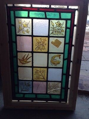 Sg 106 Antique Painted In Fired Fish Birds And Floral Stainglass Window