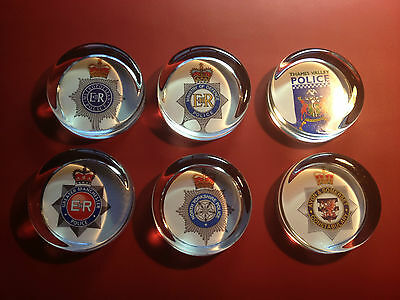 BRITISH POLICE  SERVICE 70mm GLASS PAPERWEIGHTS + 10% POLICE CHARITY