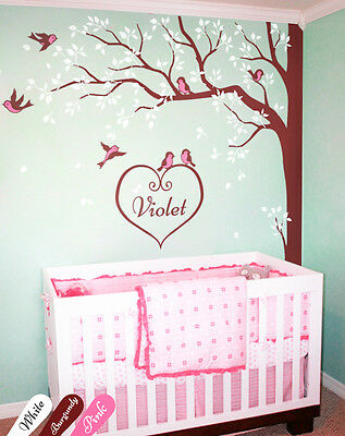 Large Tree Wall Decal + CUSTOM baby name Corner Wall Art Decal with Birds KW006
