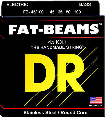 DR FB-45/100 FAT BEAMS STAINLESS STEEL BASS STRINGS, MED/LIGHT GAUGE 4's, 45-100