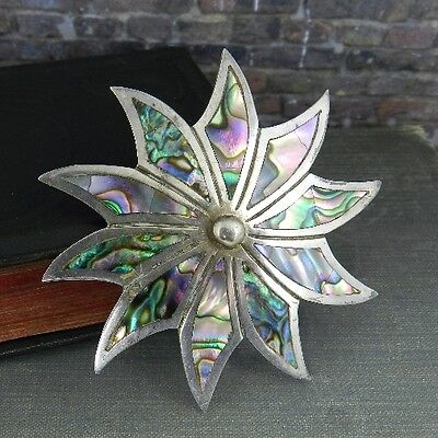 Vintage Signed ER Mexico Sterling Silver & Abalone Star Flower Pin / Pendant