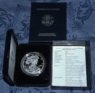 New 2001 & 2007 W AMERICAN EAGLE SILVER PROOF DOLLARS (BOXES & COAS)