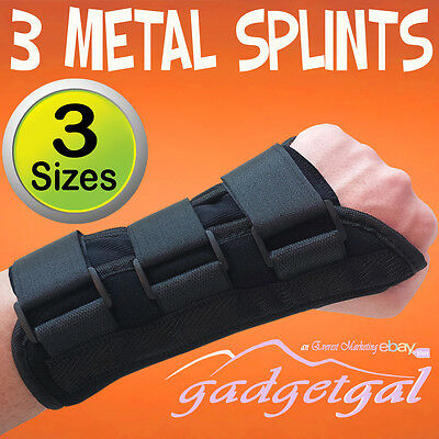 Superb 3x Metal Splint Wrist Support, 3 Straps, Pain Relief Carpal Tunnel RSI