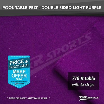 "Light Purple Wool Pool Snooker Table Cloth + 6x Felt Strips for 7""/ 8"""