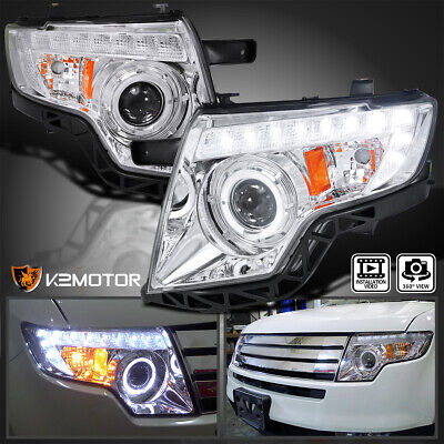 2007-2010 Ford Edge Euro Clear Halo LED DRL Projector Headlights Lamps