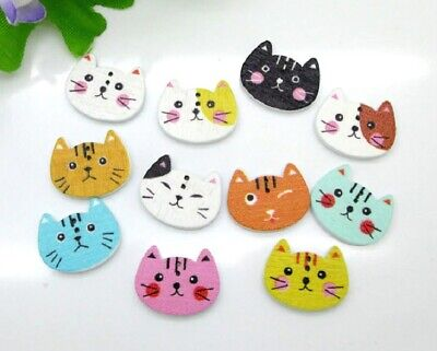 """Lot of 20 COLORED CAT 2-hole 3/4"""" x 1/2"""" (20mm) Wood Button (3699) Scrapbook"""
