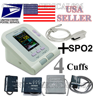 FDA ARM Digital Blood Pressure Monitor CONTEC08A+4 Cuffs+SPO2+Pr+software,USA