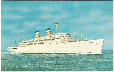 SS Constitution - American Export Lines - Passenger Cruise Ship -Chrome Postcard