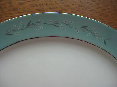 """Homer Laughlin Eggshell Cavalier Turquoise Melody 11"""" Platter Floral Silver Trim"""