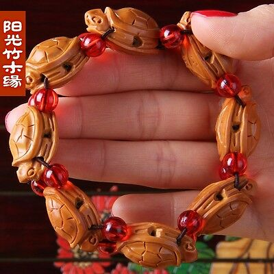Olive Nut Carved Chinese Traditional Longevity Turtle Statue Bracelet W580