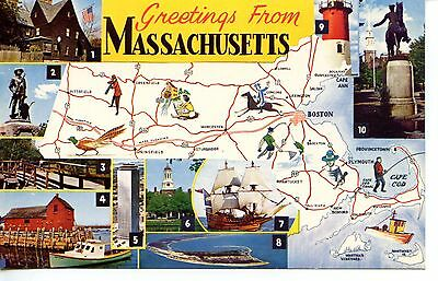 Greetings from Massachusetts-State Map-Cities-Tourist Sites-Vintage Postcard