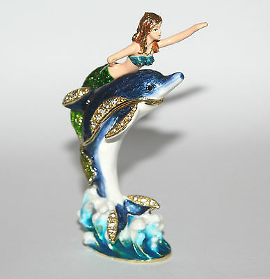 MERMAID On DOLPHIN Trinket Box / Ornament Gift *NEW*