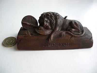 Antique Wooden Carving of The Lion of Lucerne