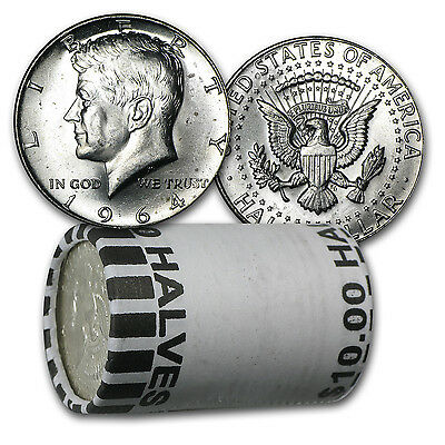 90% Silver 1964-P/D Kennedy Half Dollar 20-Coin Roll Brilliant Uncirculated